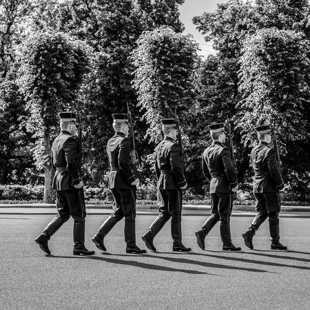 RIGA, LATVIA - AUGUST 27, 2017: Guard of honor in Riga. Black-white photo. Riga, Latvia - August 27. Editorial