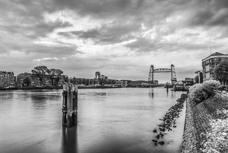 Liftbridge Koningshavenbridge De Hef in Rotterdam. Black-white photo.