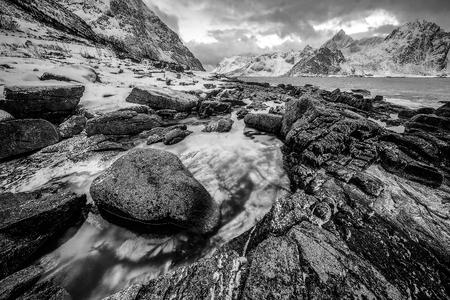 Lofoten islands. Beautiful Norway black-white landscape. Stock Photo