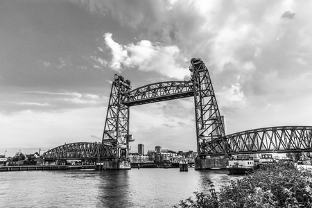 Liftbridge Koningshavenbridge De Hef in Rotterdam. Black-white photo.