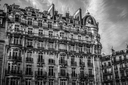 PARIS - FRANCE - AUGUST 30: Black-white  architecture photo of Paris buildings on August 30, 2015 in Paris.