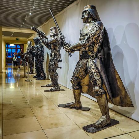 PRAGUE, CZECH REPUBLIC - OCTOBER 21, 2018: Gallery of Steel Figures in Prague. Sculptures made of recycled metal items.