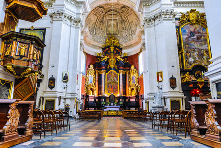 KRAKOW, POLAND - OCTOBER 18, 2018: The Church of Saints Peter and Paul is first structure in Kraków designed entirely in the Baroque style, it's first Baroque building in present-day Poland.