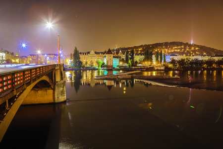 Night autumn Prague. Popular cityscapes after dark.