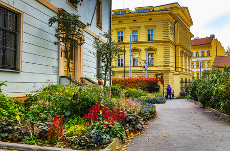 Traditional Czech architecture of antique Prague buildings at autumn. 版權商用圖片