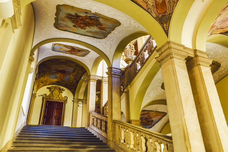 PRAGUE, CZECH REPUBLIC - OCTOBER 21, 2018: Ancient interior of luxurious palace staircase in Prague.