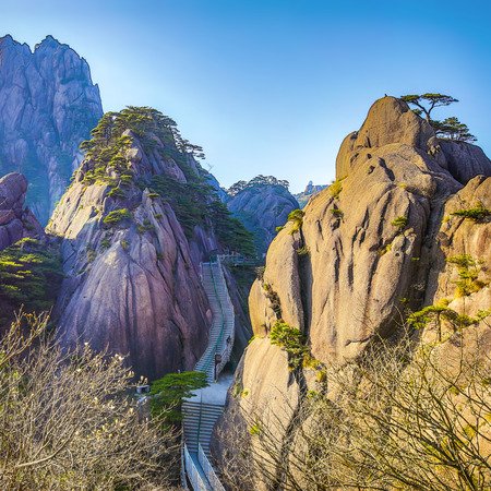 Yellow Mountains Huangshan, Anhui Province in China. Imagens