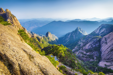 Yellow Mountains Huangshan, Anhui Province in China. Stock Photo