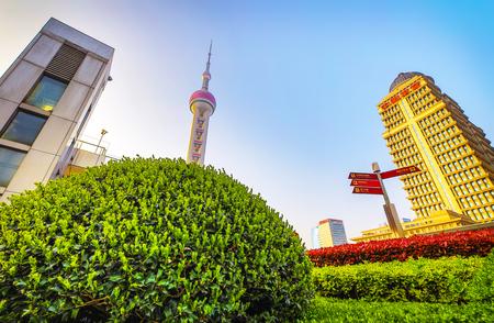 SHANGHAI, Ð¡HINA - APRIL 03, 2019: Modern central streets of Shanghai and high-rise buildings. Publikacyjne