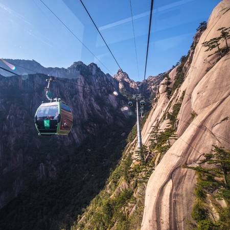SHANGHAI, СHINA - APRIL 03, 2019: Inside cable car in Yellow Mountains Huangshan, Anhui Province in China.
