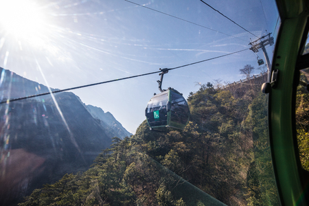 SHANGHAI, Ð¡HINA - APRIL 03, 2019: Inside cable car in Yellow Mountains Huangshan, Anhui Province in China.