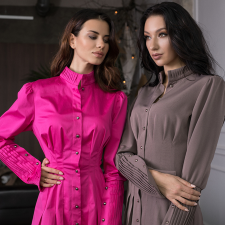 Two beautiful young woman pose in modern interior.