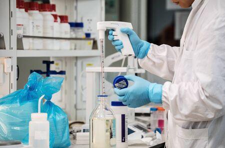 BEIJING, CHINA - JUNE 03, 2019: Modern drug manufacturing laboratory equipment.