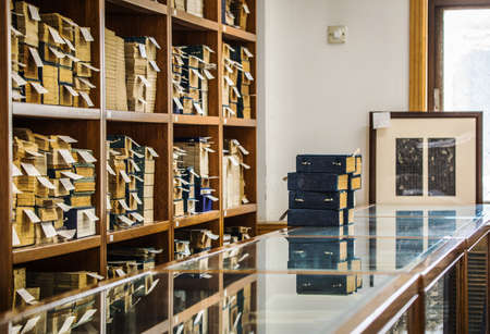 BEIJING, Ð¡HINA - JUNE 01, 2019: Traditional Chinese library with shelves of old and modern books.