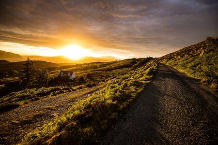 Beautiful scenic landscape of Scotland nature with beautiful evening sun set sky Stockfoto