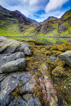 Beautiful scenic landscape of Scotland nature with mountain rocks