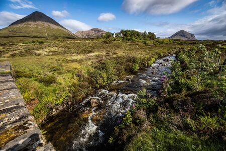 Picturesque landscape of a mountain river with traditional nature of Scotland