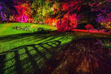 Mehrfarbige Nachtbeleuchtung des schottischen Hausgartens. Standard-Bild