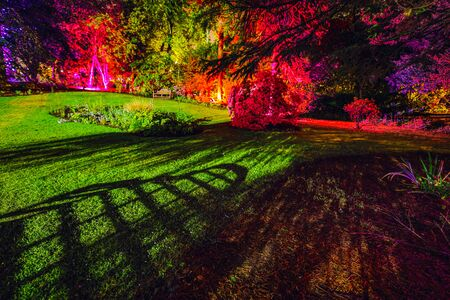 Multi-colored night lighting of the Scottish house garden.