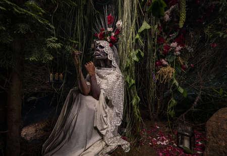 Fabulous stylization of Santa Muerte - Holy Death - modern religious cult. Concept Art fairy tale photo. Foto de archivo