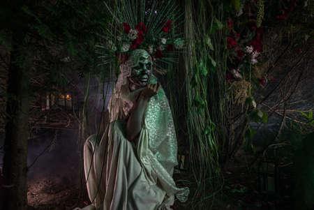Fabulous stylization of Santa Muerte - Holy Death - modern religious cult. Concept Art fairy tale photo.