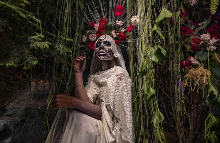 Fabulous stylization of Santa Muerte - Holy Death - modern religious cult. Concept Art fairy tale photo.