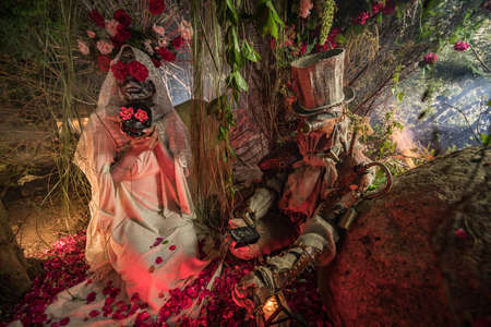 Fabulous stylization of Santa Muerte - Holy Death - modern religious cult. Concept Art fairy tale photo. Banco de Imagens