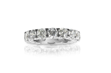 wedding band: Beautiful diamond ring with diamonds set in gold  Fashion wedding or anniversary band  Stock Photo