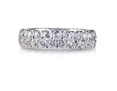 wedding band: Beautiful diamond ring with diamonds set in gold. Fashion wedding or anniversary band. Stock Photo