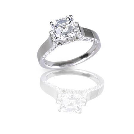 objetos cuadrados: Anillo de bodas de diamante del contrato Ascher Cortar