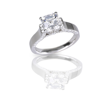 Ascher Cut Diamond Engagement Wedding Ring photo