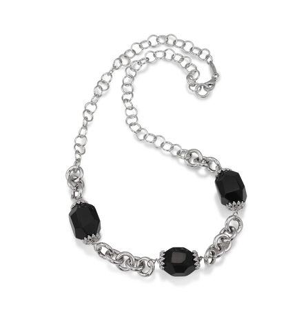 Beautiful Onyx Bead Crystal Necklace with Silver Chain Isolated on white photo