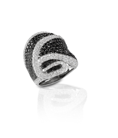 black onyx: Black Onyx and Diamond Pave Wedding  Anniversary Ring Isolate on white background with a reflection. Fine Jewelry