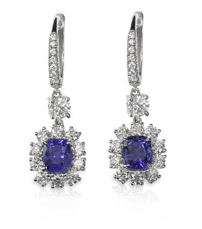 studs: Blue Gemstone and diamond earrings. Genuine Fine Jewelry Stock Photo
