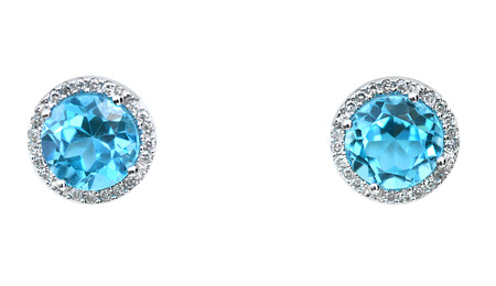Blue Gemstone and diamond earrings. Genuine Fine Jewelry Stock Photo