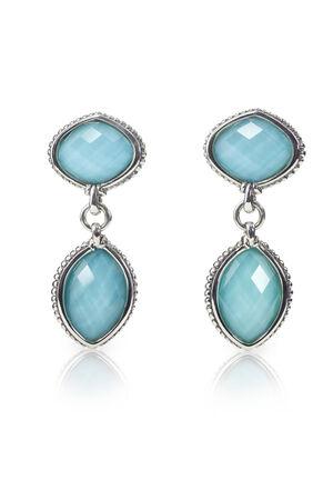 Blue Gemstone and diamond earrings. Genuine Fine Jewelry Фото со стока