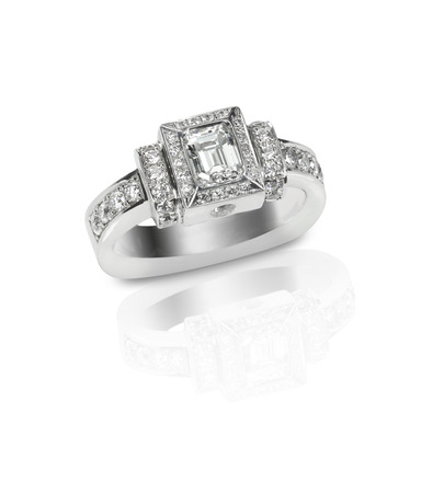 Beautiful diamond wedding ring set with multiple diamonds within a gold or platinum setting Stock Photo