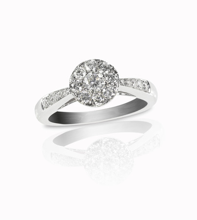 platinum: Beautiful diamond wedding ring set with multiple diamonds within a gold or platinum setting Stock Photo