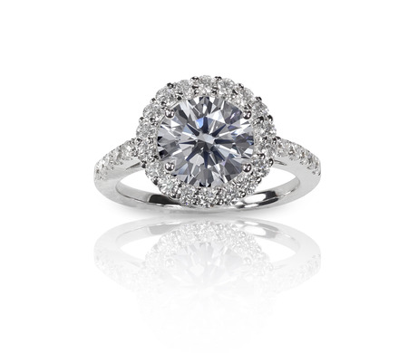 Beautiful diamond wedding ring set with multiple diamonds within a gold or platinum setting photo