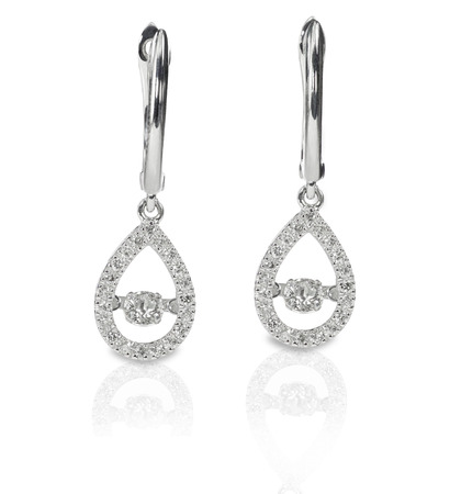 Teardrop shaped dangle drop diamond earrings are isolated on a white background with reflections
