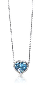 Blue Gemstone and Diamond Pendant Necklace isolated on a white background with a reflection