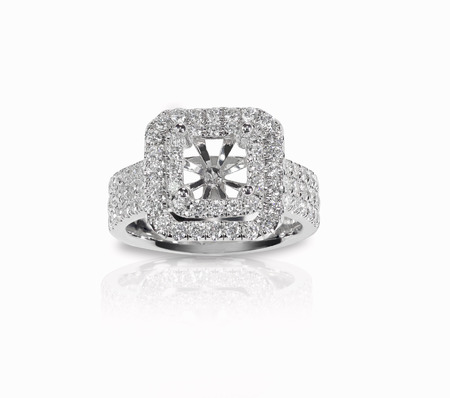 platinum: Halo DIamond Engagment Wedding Ring Setting top view with no stone set. Isolated on white background