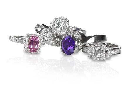 Cluster stack van diamant edelsteen bruiloft engagment ringen
