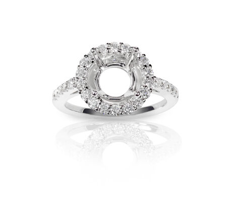 diamond ring: Halo DIamond Engagment Wedding Ring Setting top view with no stone set. Isolated on white background