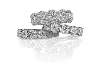 Cluster stack of diamond gemstone wedding engagment rings