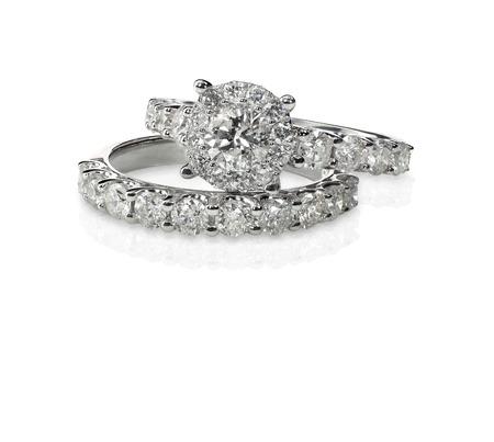 Cluster pile de bagues de diamant pierres précieuses engagment de mariage Banque d'images - 27864411