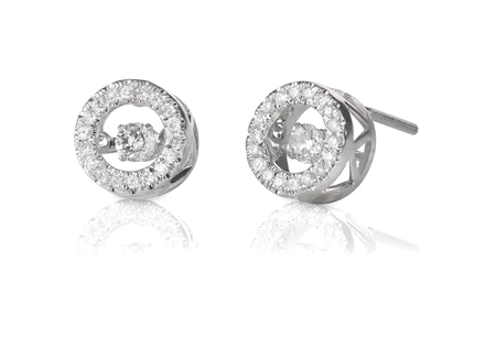 Diamond Halo floating stud earrings isolated on a white background with reflection photo