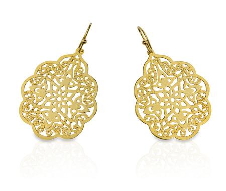 Gold Filigree Earrings Stock Photo