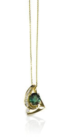Green Emerald and Diamond Pendant Necklace isolated on white with a reflection Reklamní fotografie