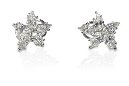 Multi Marquise Diamond stud earrings isolated on a white background with a reflection photo